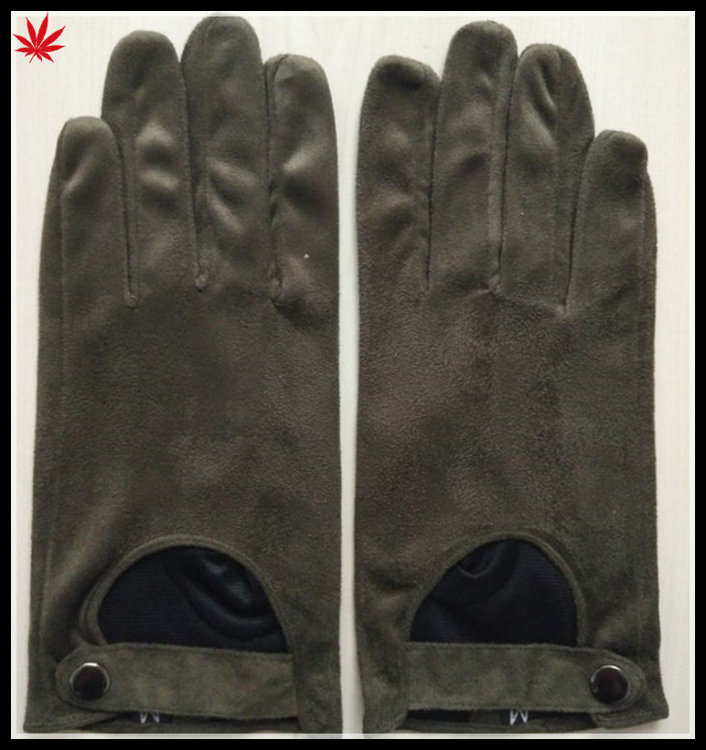 cheap faux suede leather hand glove driving gloves with buttons