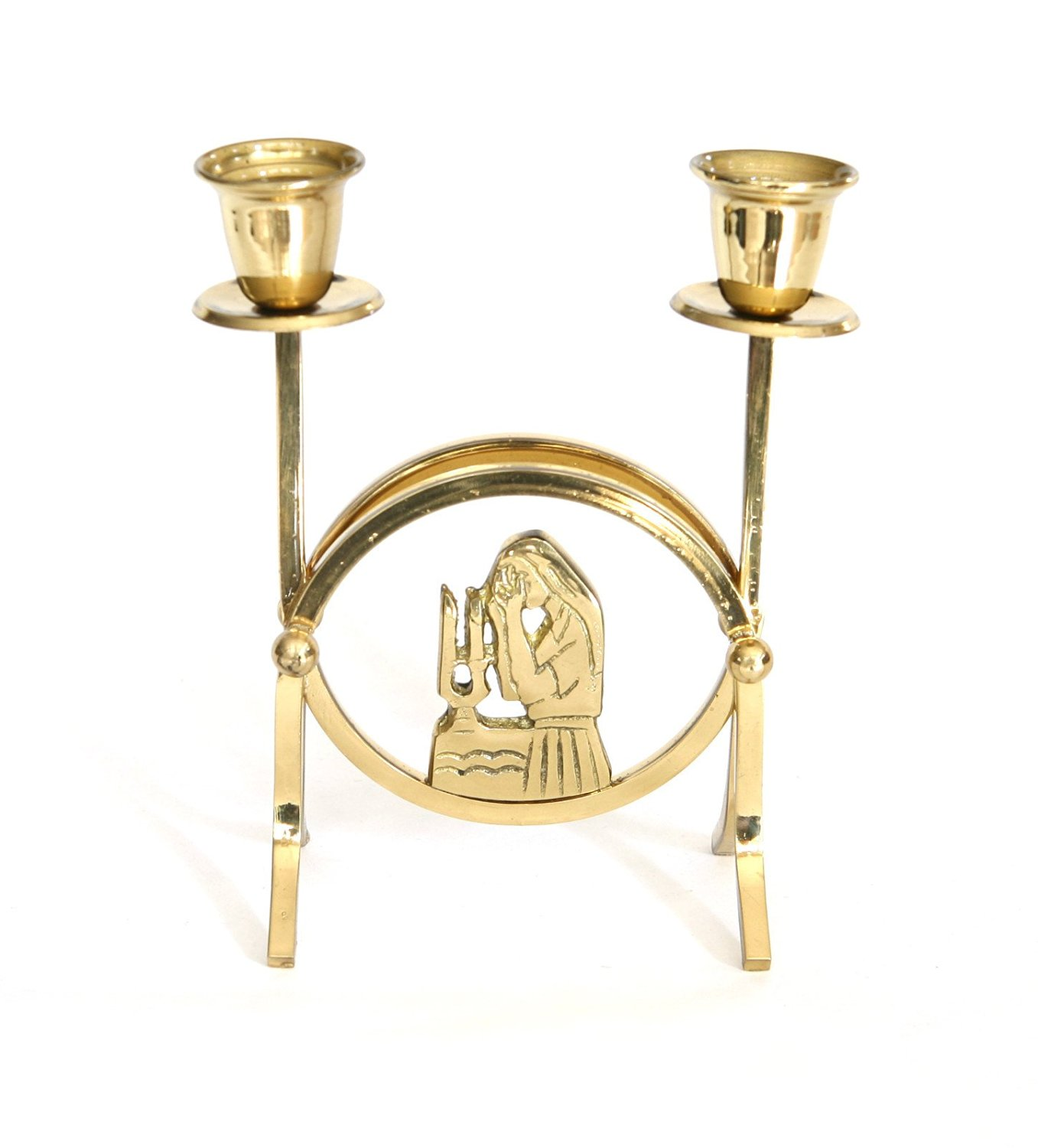 """Jewish Shabbat Sabbat Solid Brass Candle Holders / Sticks A Woman is Blessing For Shabbat 5.5"""" x 3.5"""", Great Gift For: shabbat and Jewish Hollydays"""