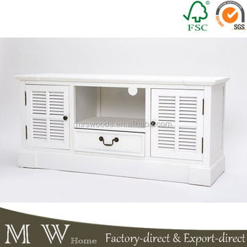 Mw Home French Shabby Chic 2 Louvered Doors White Mdf Living Room ...