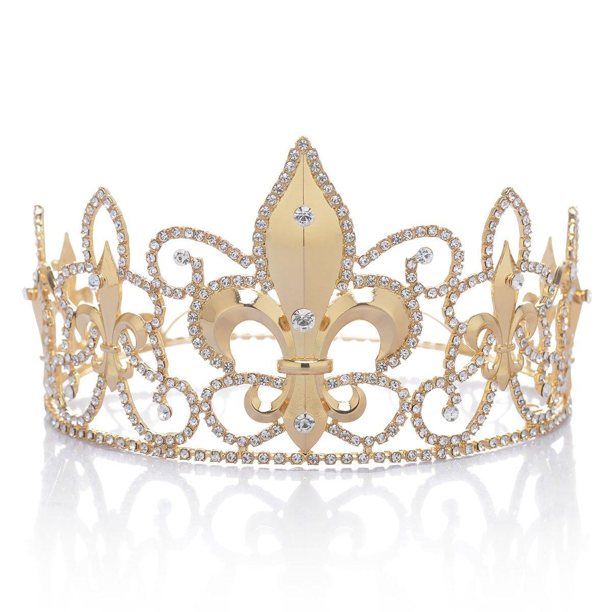 Remedios Fleur-de-lis Crystal Men's Crown Tiara Rhinestone King's Crown Tiara Headpieces, Gold