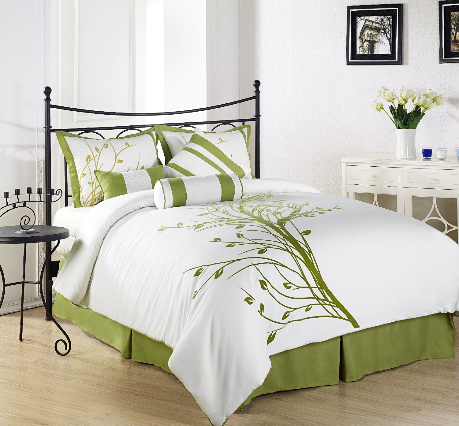 Chezmoi Collection 7 Piece Embroidery Floral Plants Tree Bedding Comforter Set Home Garden Bedding
