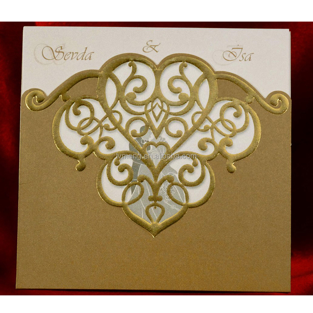 China Wholesale Custom Design Laser Cut Wedding Cards Indian Invitations With Gold Stamping