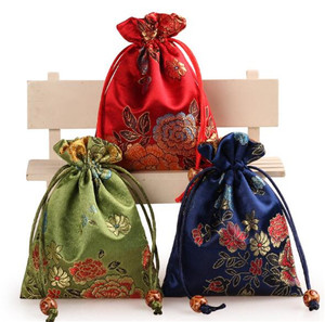 best selling products embroider satin jewelry pouch bag handmade ribbon work embroidered jewelry bag