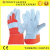 High quality orange cotton back full palm cow split fancy leather gloves