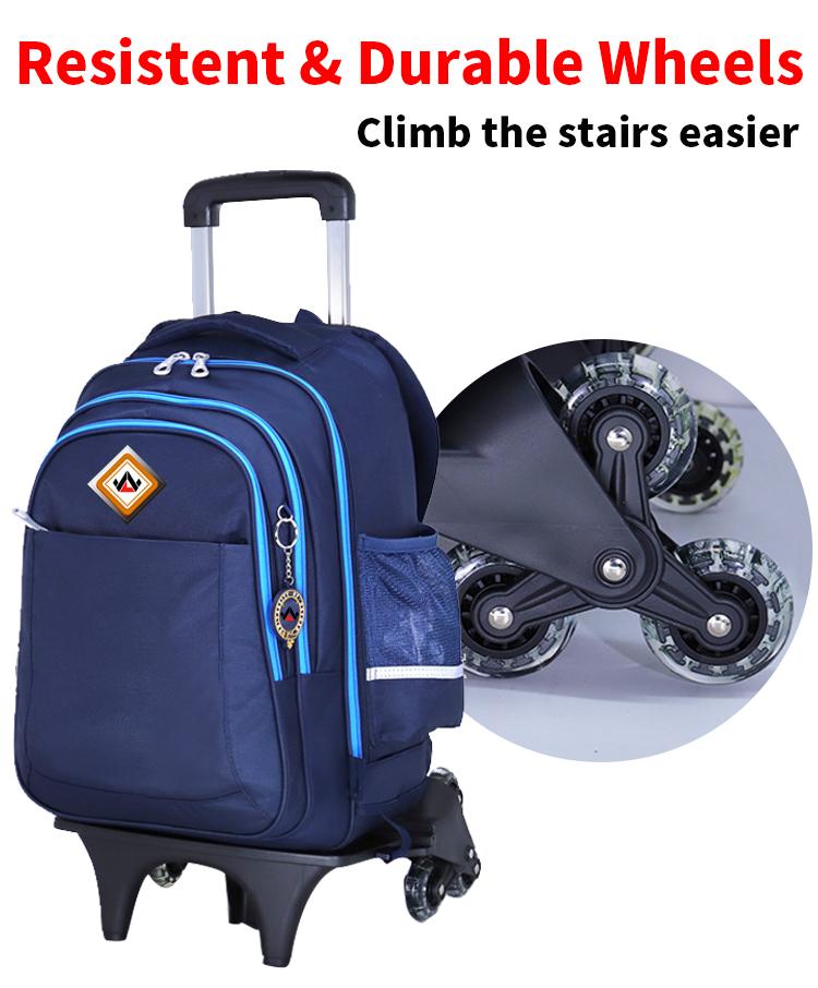 Sac de chariot d'école d'enfants avec des sacs à dos de roues pour le chariot de sac à dos d'enfants d'école