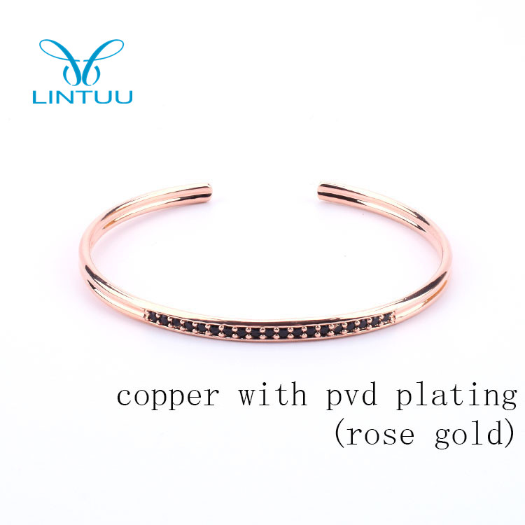 Fashion Jewelry 2018 Rose Gold Metal Stainless Steel Bracelet With Black Zircon