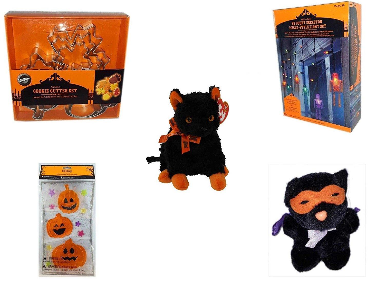 "Halloween Fun Gift Bundle [5 piece] - Wilton Autumn 8-Piece Cookie Cutter Set - 35 Count Skeleton Icicle-Style Light Set - Ty Beanie Baby""Fraidy"" The Black & Orange Cat - Gel Clings Pumpkins, Stars"