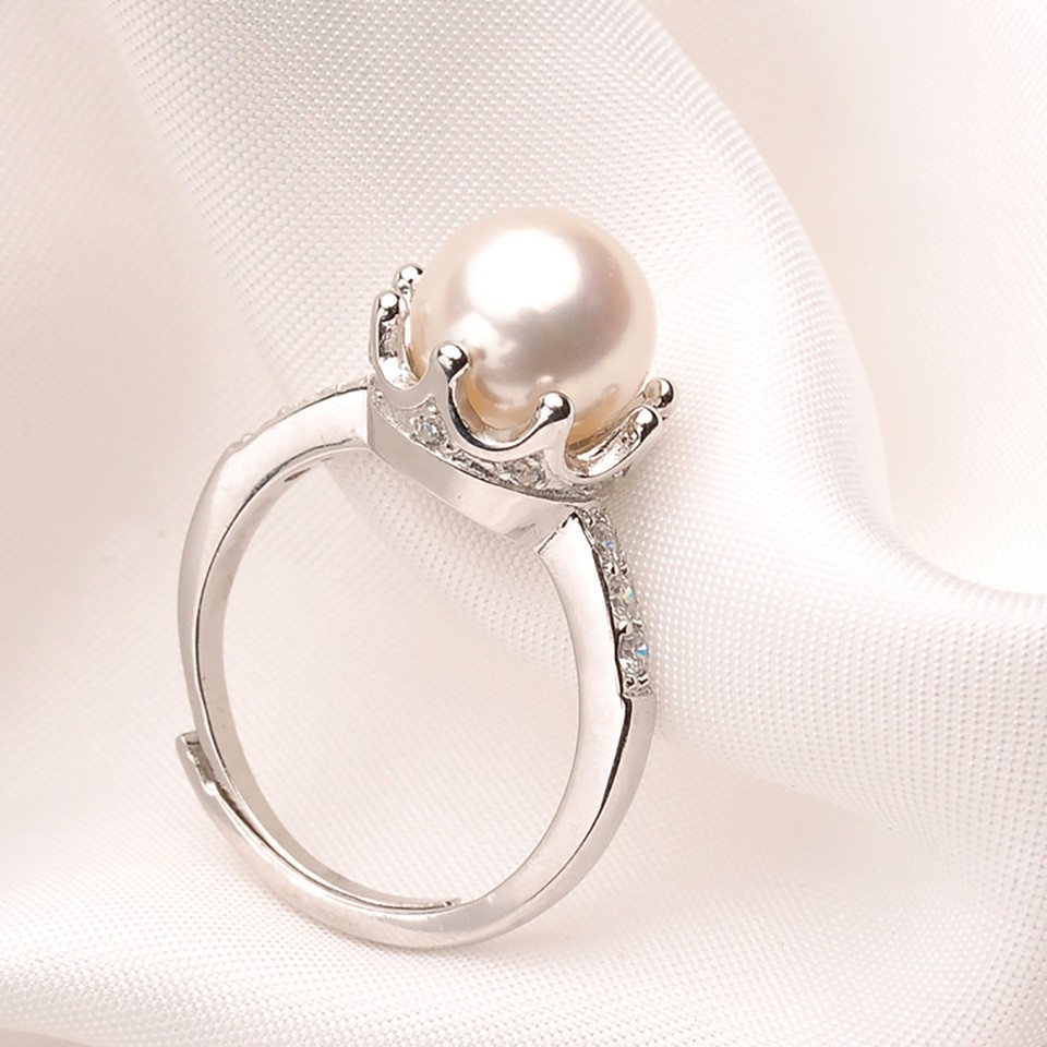 engagement pearl water fresh product perfect detail round rings real ring silver white with