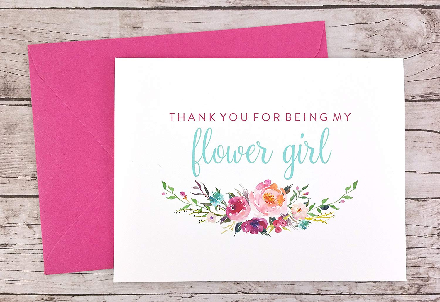 Thank You For Being My Flower Girl Card, Wedding Card, Flower Girl Thank You Card (FPS0021)