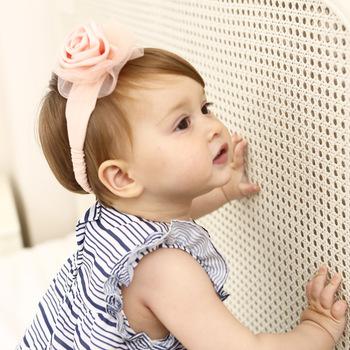 Shabby Chic Rosette Cotton Hairband Newborn Baby Satin Flowers Elastic  Headbands Baby Girl Boutique Headband 8ff324566a4