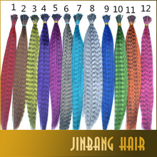 2016 new colorful Stripes Pre Bonded Hair Extension Women Long Straight Feather I Tip Hair Extensions Hair piece