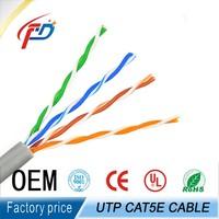 Factory wholesale 1000ft CCA/BC utp cat5e lan cable 2pr / 4prs 24awg
