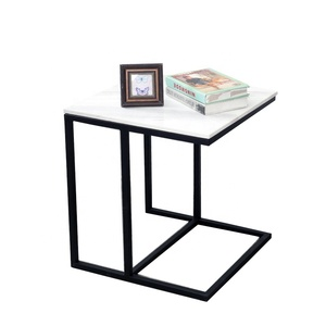 Nordic Veneered MDF Coffee Table Simple Living Room Sofa Side Bedroom Saves Space Wrought Iron Side Table