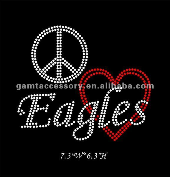 Dazzling Peace Love Eagles Iron On Diamante Rhinestone Crystal Transfer
