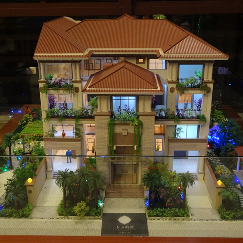 3d villa building scale 1:100 model with miniature figures