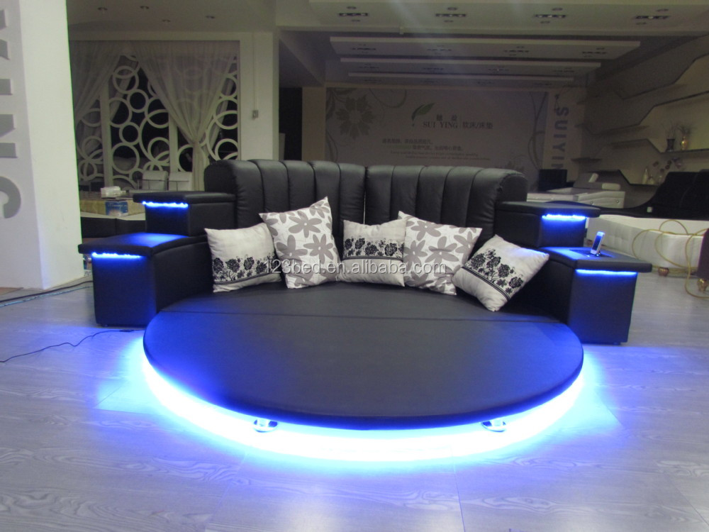 Hot Sale Modern Led Music Round Bed Frame In China Cy006 Buy Round Bed Frame Modern Round Bed