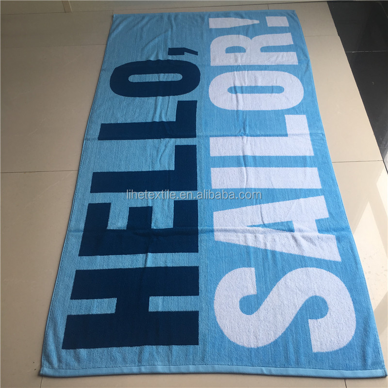 Custom Slogan Jacquard 100% Cotton Fabric Made In China 70*140cm Beach  Towel - Buy Top Grade Beach Towel,Yarn Dyed Jacquard,Best Quality Towel  Product