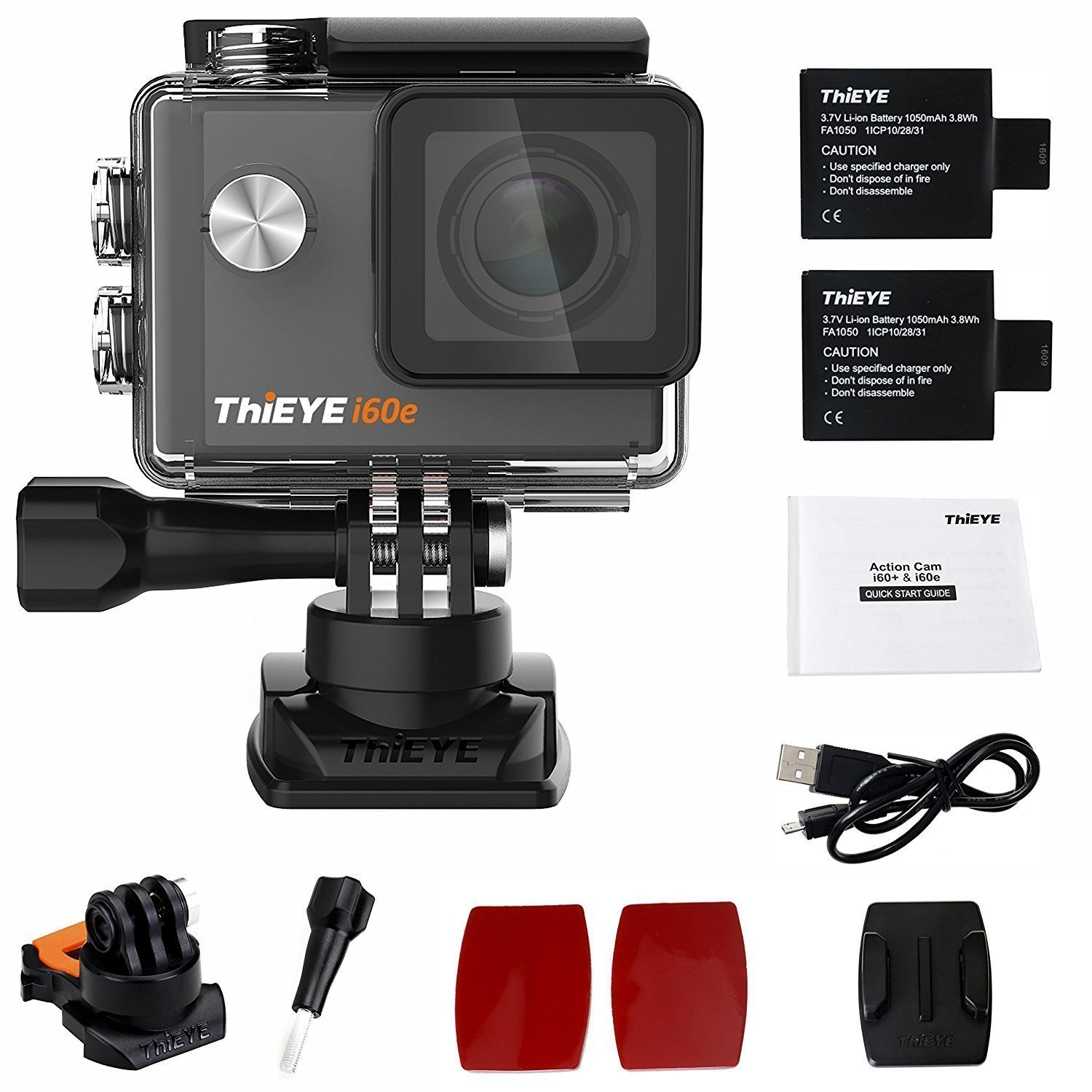 """ThiEYE 4K Action Camera Wifi Waterproof Sport Video Camera 12MP Full HD 2"""" Screen with Multiple Modes, 170 Wide Angle, 197FT Waterproof, App Control and Full Accessories (i60e)"""