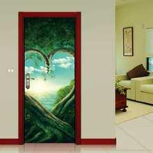 Африка Grassland Зебра DIY двери гостиной Декоративные плакаты 3D водонепроницаемые художественные обои для спальни наклейки на двери(Китай)