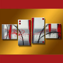 Modern Handmade Wall Art, Abstract Oil Group Picture 4 Pcs Modern Art Oil Painting