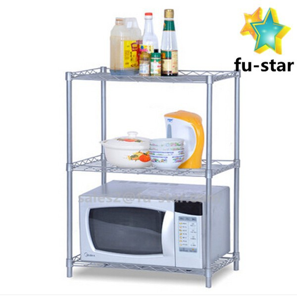 Pn FUJIAN factory portable metal microwave shelf stand rack folding corner cheap kitchen cabinets