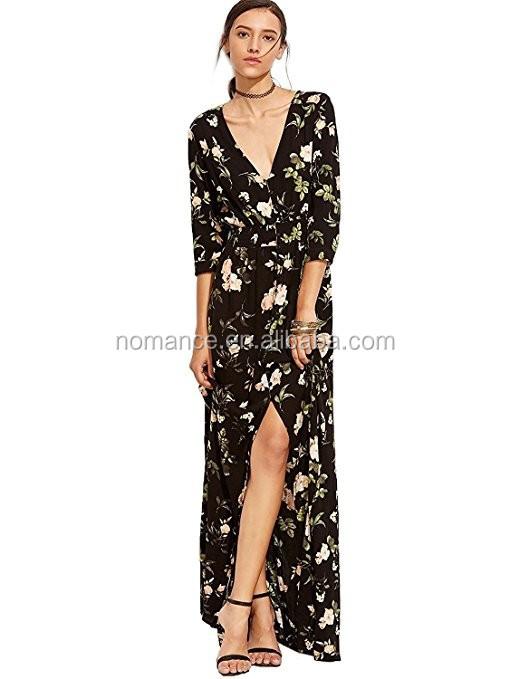 6deea5a16d Ladies Long Sleeve Floral Chiffon Dress Woman Perfection Smart Casual Dress