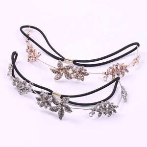 High Quality Rhinestone Gold Headband Headdress Flowers Accessory Queen Tiara Crown Headpieces with Black Elastic