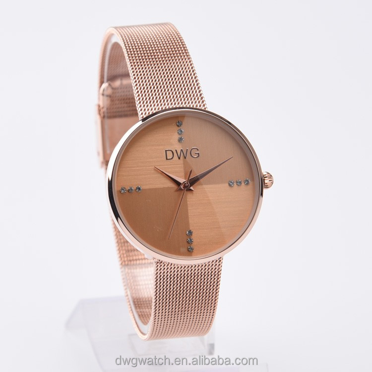 beautiful fancy luxury lady watch with mesh band rose gold plating