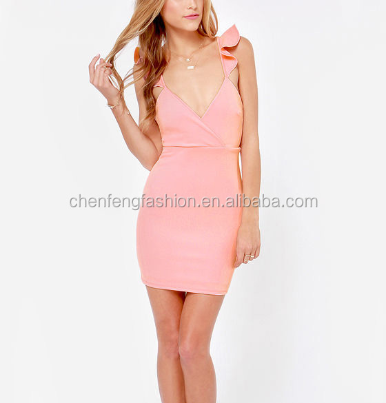 CHEFON Sexy open back ruffled tank straps bodycon short pink dress
