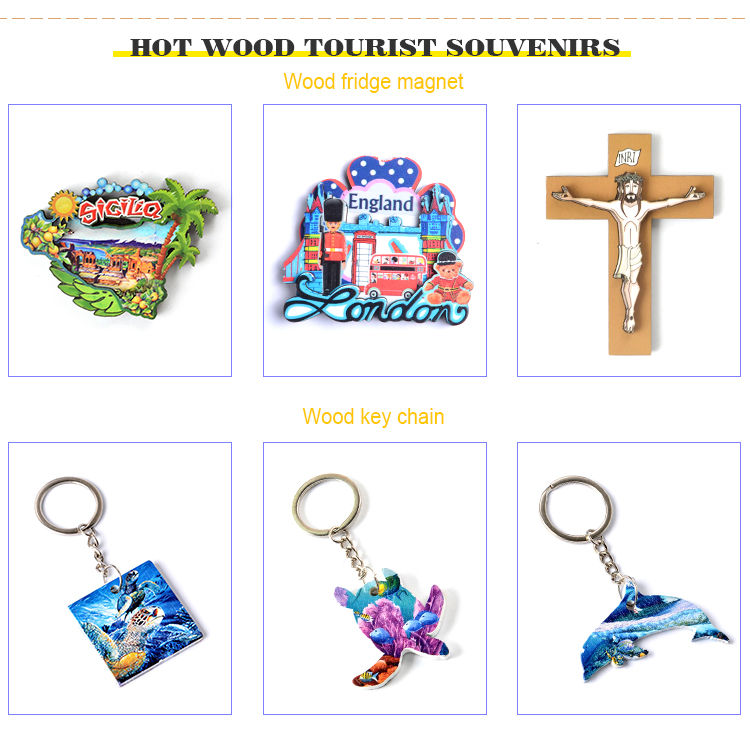 Factory Customized Printed   Cheap Fashion fridge magnets Wooden Craft
