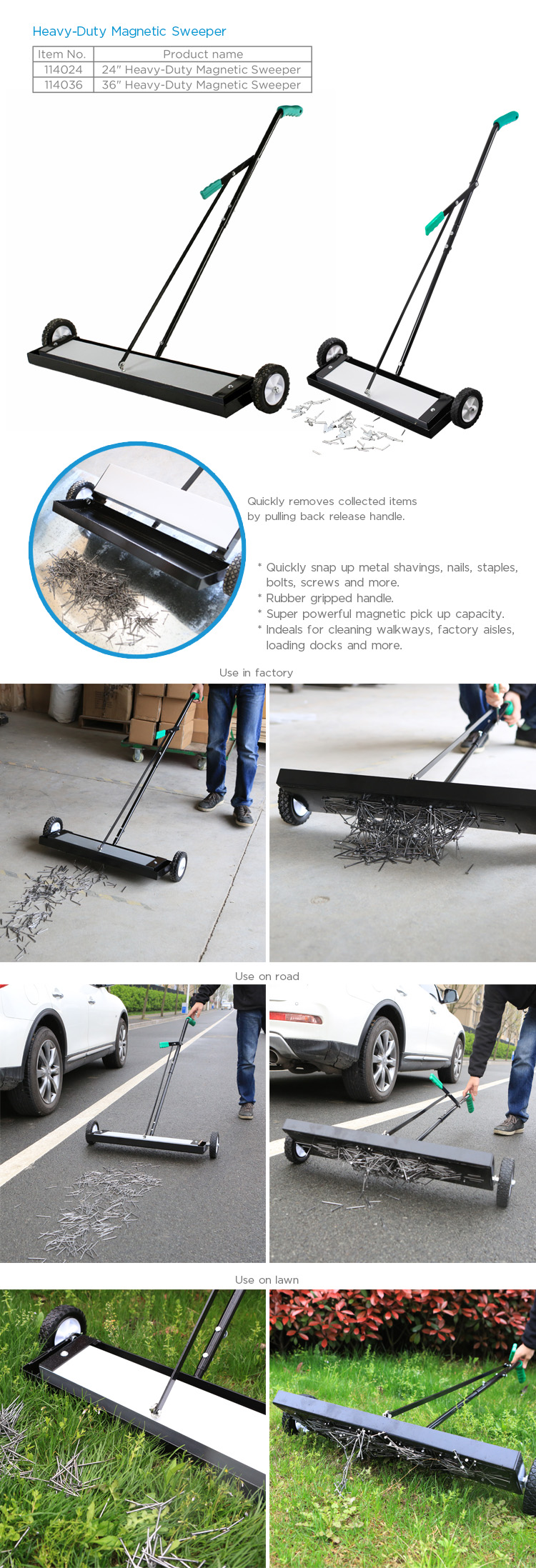 High Effective  Permanent Magnetic Sweeper Heavy duty sweeper with release