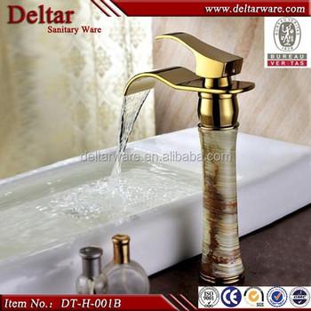 2014 Titanium Gold Brass Faucet,Elegent Stone Waterfall Faucet ...