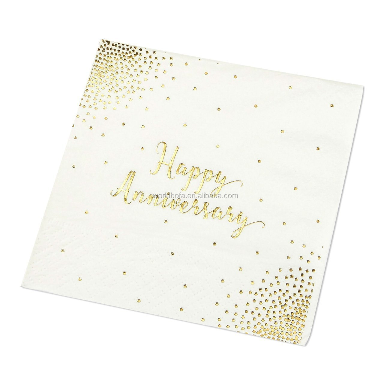 Printed Gold Foil Disposable Party Napkins for Anniversary Celebration