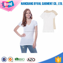 Women Under Shirt V Neck Cotton T-Shirt Custom Silk Screen Printing t shirts Wholesale