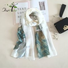 Lady elegant accessories scarf hijab printed women long scarves silk shawl
