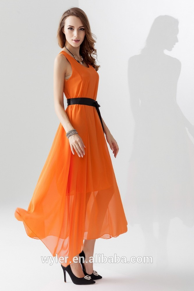 3832baf4f7d6 2016 Summer Beach Long Maxi Chiffon Waistbelt Beautiful Casual Dress Green  Royal Blue Black Design lady