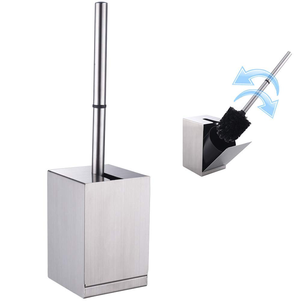 Toilet Brush Holder with Brush, Angle Simple SUS304 Stainless Steel Toilet Bowl Brush and Holder, Toilet Cleaning Brush Set, Wall Mount 3M Self Adhesive or Free Stand, Brushed Nickel