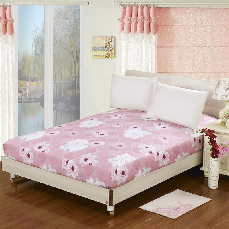 1pcs fitted sheet 100 cotton twin double queen size mattress cover protector pure cotton floral. Black Bedroom Furniture Sets. Home Design Ideas
