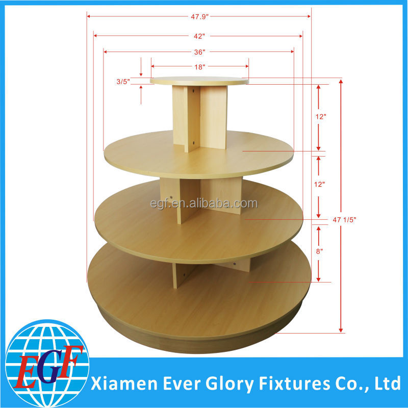 Wood Top Garments 4 Tiered Retail Display Round Table, View Round ...
