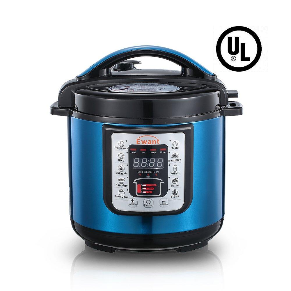 Ewant 9-in-1 Multi-functional Electric Pressure Cooker, Pressure Cooker, Slower Cooker, Digital Stainless Steel Pressure Cooker, Rice Cooker, 6 Quart/1000W, Blue
