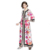 fashion style pink floral print abaya muslim dresses for women