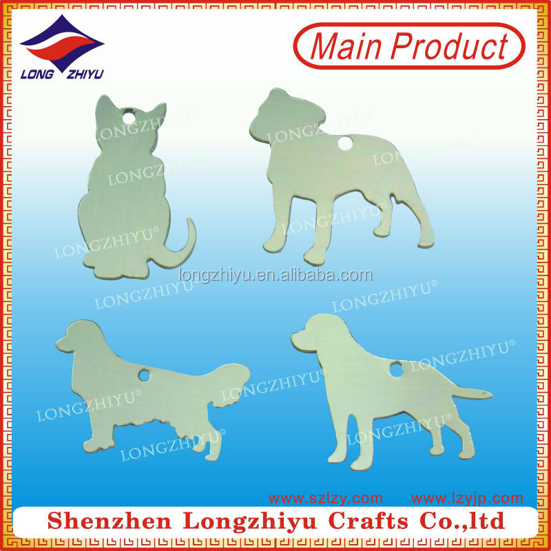 Aluminium brushed metal pet nameplate,dog shape pet label charms tag for promotion