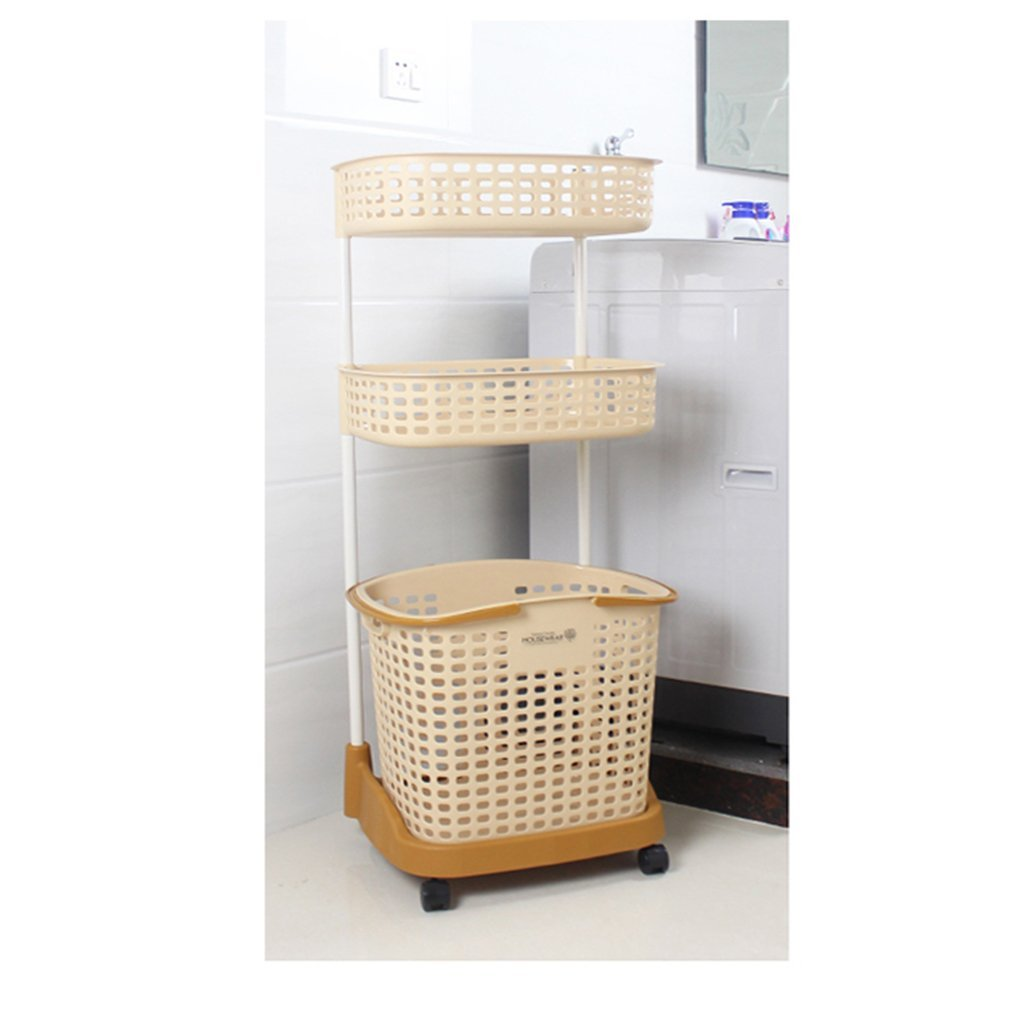 Rack shelf Kitchen Shelf Plastic Laundry Basket Dirty Clothes Accept The Basket Dirty Clothes Bucket Storage Basket Multiple Layers Accept The Basket ( Color : Yellow )