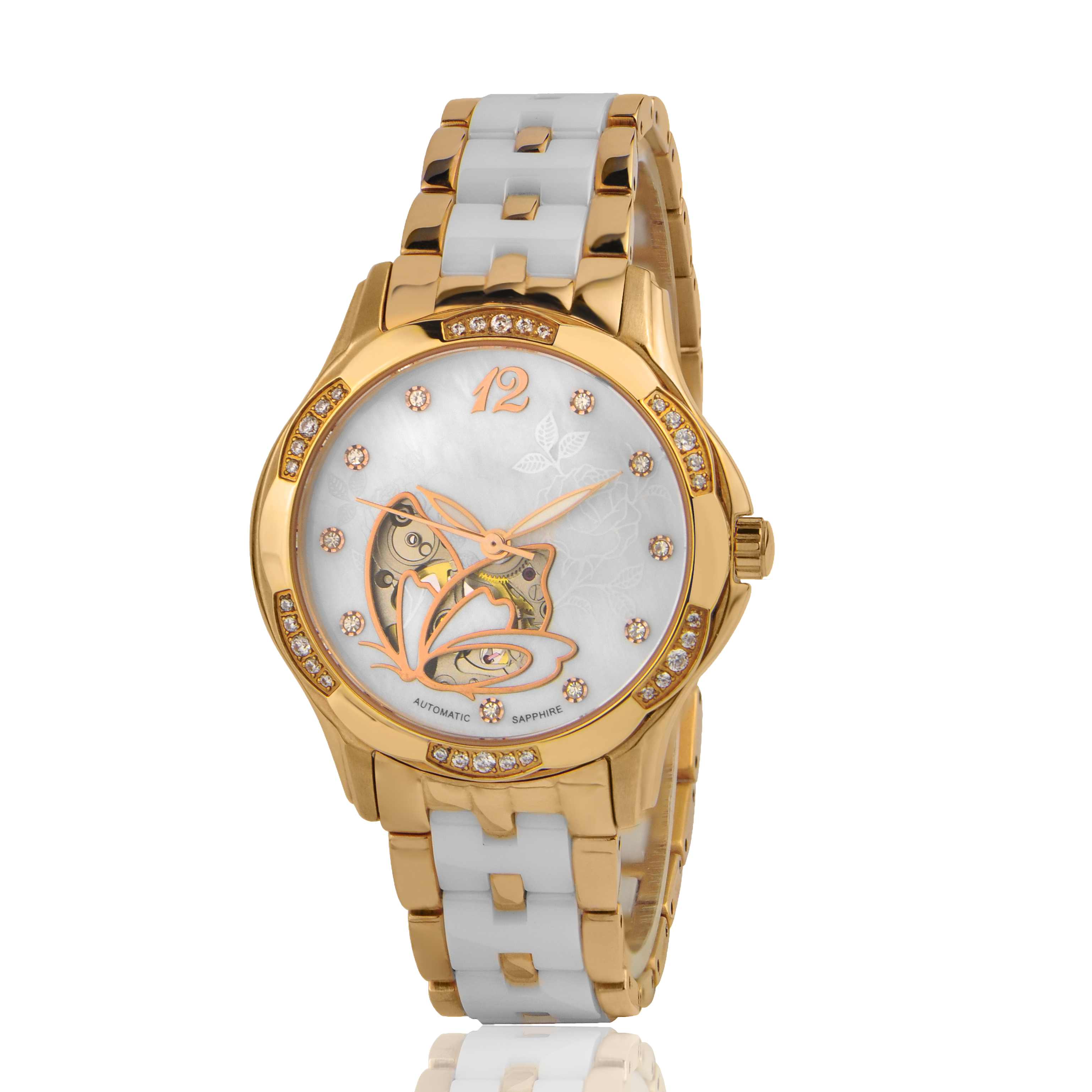 OEM Women Automatic Watch Luxury Diamonds Rose Gold Stainless Steel <strong>Ceramic</strong> Wrist Watch