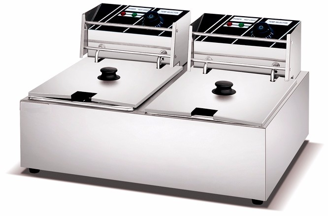 Commercial Cheap 2-tank 5.5Lx2 Electric Deep Fryer