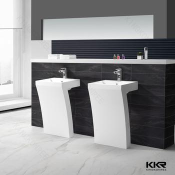 Fancy Artificial Marble Freestanding Restaurant Bathroom Sinks
