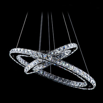 luxury double rings crystal lamp for dining room oval modern living