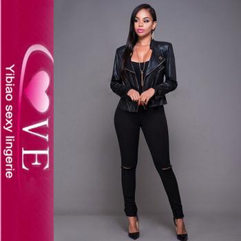 New Style Women Pu Jackets Winter Black Tight Leather Jacket Coats