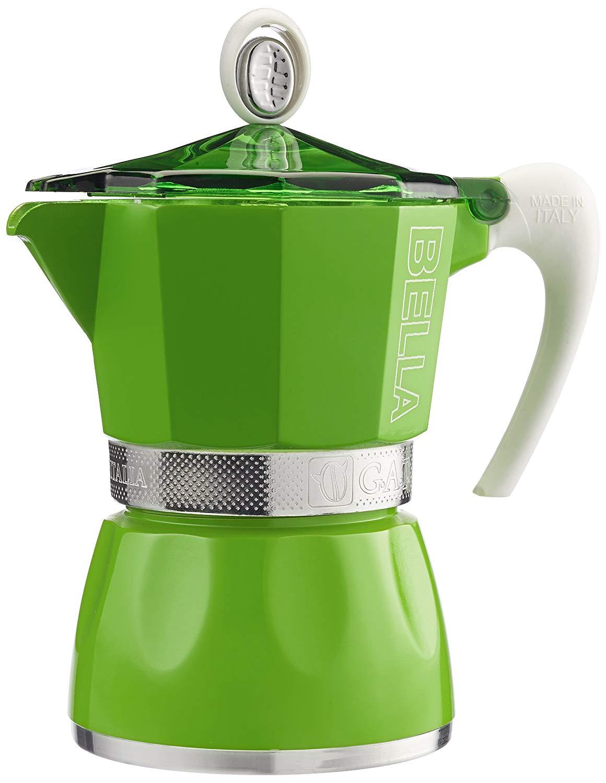 GAT Bella - Stove Top Espresso Coffee Maker - Ergonomic Handle - Certified Food Safe Aluminium - Green - 3 Cups