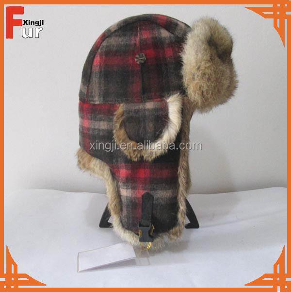 Wholesale Real Rabbit Fur Hat Earflap Trapper Hat Wool Plaid Winter Hat For  Women 631c82251e